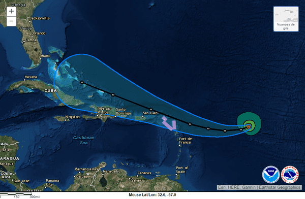 trajectoire Irma NHC
