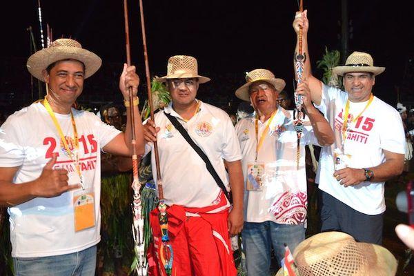 Cérémonie d'ouverture des XVème Jeux du Pacifique 2015 en Papouasie Nouvelle-Guinée - La délégation tahitienne
