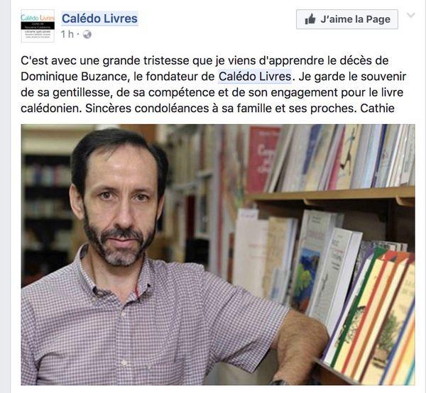 Capture hommage Dominique Buzance sur Facebook de Calédo Livres