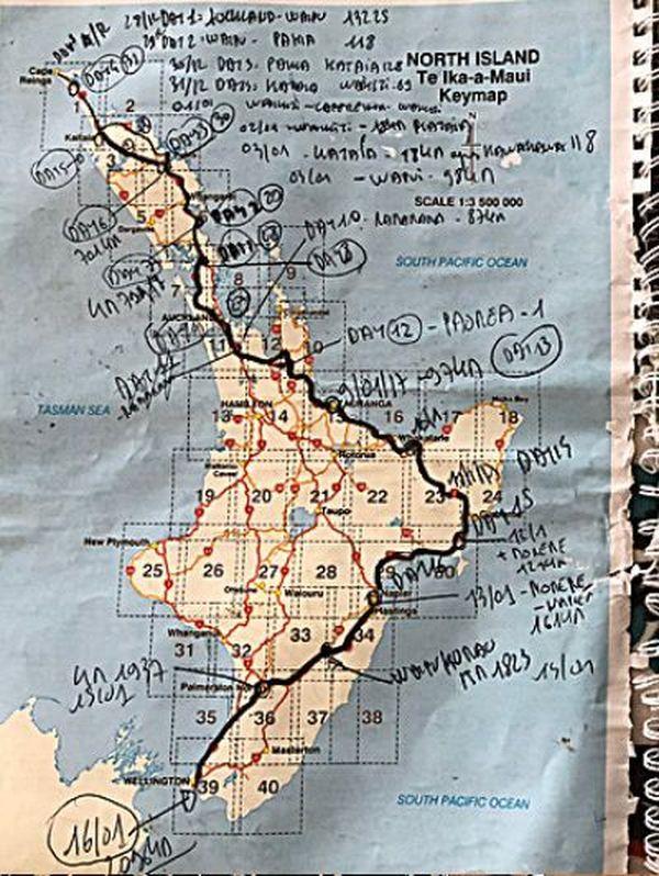 Rotary tour nouvelle-zélande 2018 carte itinéraire île du Nord