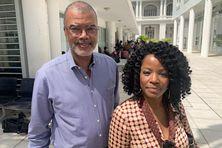 """Daniel Robin et Béatrice Bellay de la liste """"Nou Ka Fè Yonn Pou Matinik""""."""