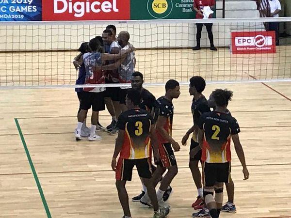 Samoa 2019, les volleyeurs cagous l'emportant sur les Papous.