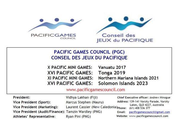 Le document officiel annonçant le retrait définitif de Tonga pour l'organisation des Jeux 2019.