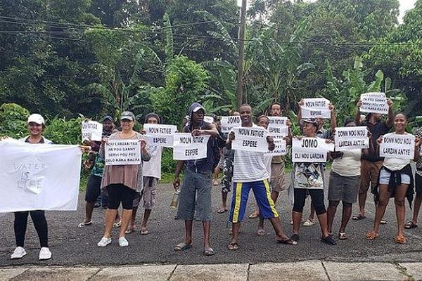 Manifestations des habitants de La Misère sur l'île de Mahé