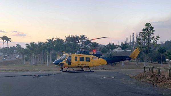 Feu de Moindou, 28 octobre 2019, hélicoptère bombardier d'eau au sol