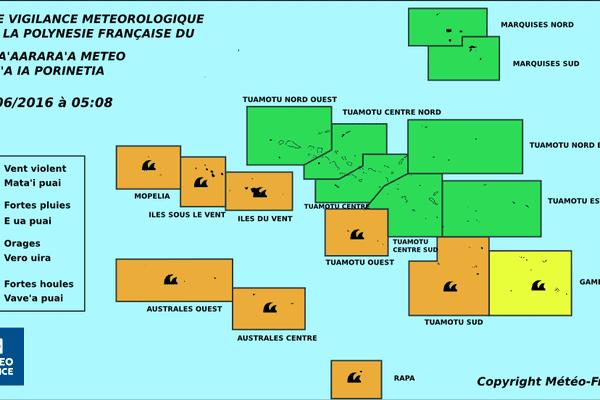 Vigilance météorologique en cours sur une bonne partie de la Polynésie - 07 06 2016