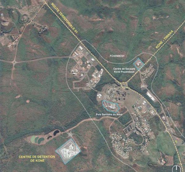 Centre de détention / prison de Koné : carte