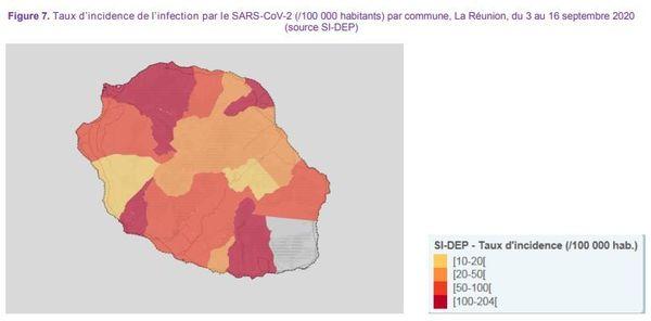 coronavirus covid taux d'incidence par zones La Réunion 240920