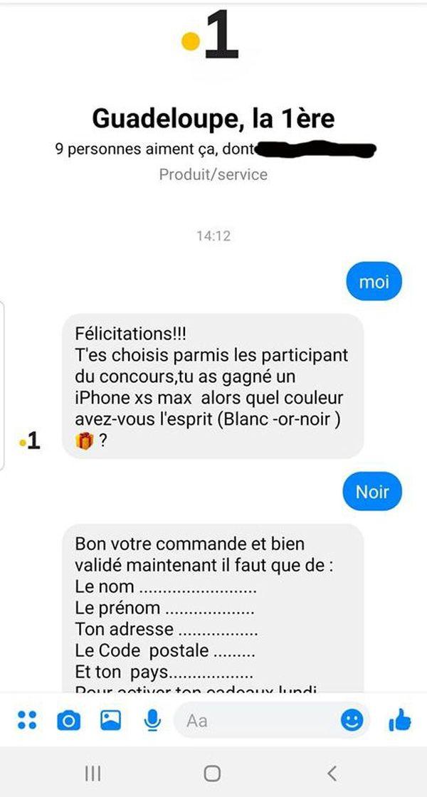Message privé arnaque Facebook
