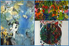"""De gauche à droite :  """"ST 146"""" d'Alain Joséphine, """"Coloré 2"""" de Samuel Gelas en haut à droite et """"609 jaguar. Lunaire"""