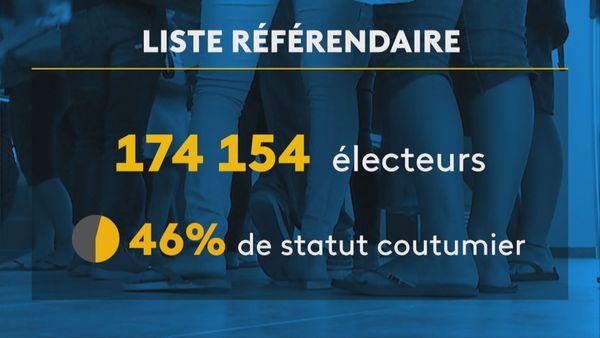 Infographie liste référendaire 63 % de Kanak46 % d'électeurs de statut coutumier
