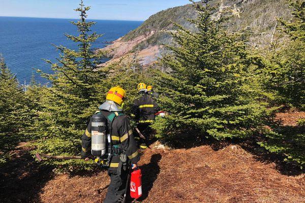Les pompiers en direction du feu