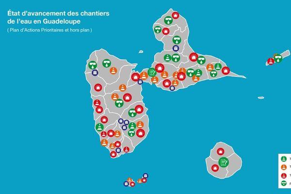 Carte des travaux eau de la Région
