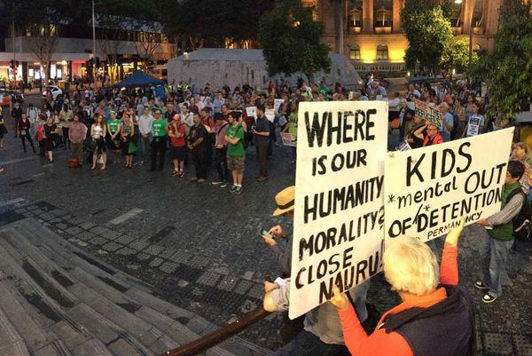 Manifestation à Brisbane, en avril dernier, contre la détention de demandeurs d'asile à Nauru et à Manus.
