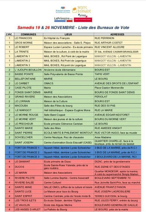 Liste bureaux de vote