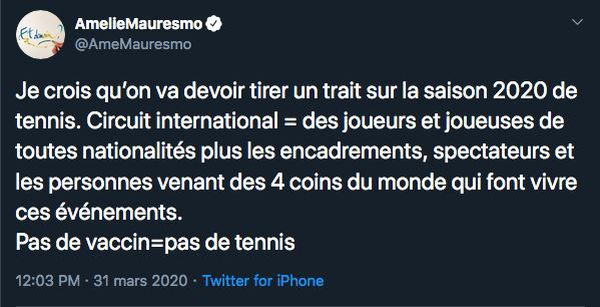 Tweet d'Amélie Mauresmo