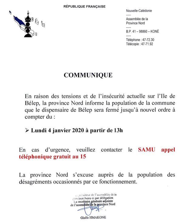 Communiqué CMS Belep 4 janvier 2021