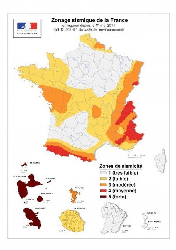 zonage sismique en France