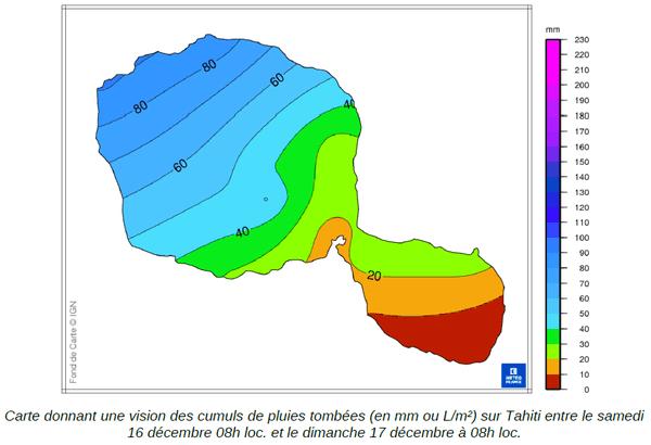 Les averses ont principalement touché les zones nord ouest de Tahiti
