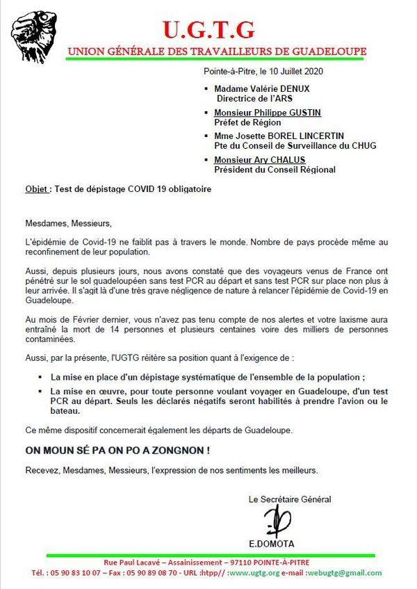 UGTG : tests de dépistage Covid-19 exigés