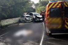 Accident mortel au quartier derrière Morne sur la RN1 entre Saint-Marie et Trinité (13 avril 2021).