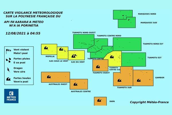 Une grande partie des îles en vigilance jaune et orange