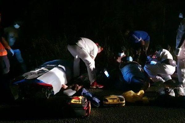 Choc frontal entre 2 véhicules sur la route d'Apatou, hier soir