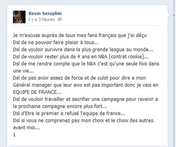 Kevin Seraphin, Facebook