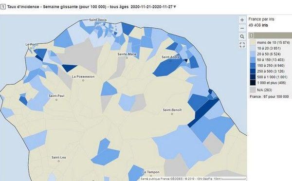 coronavirus covid carte Réunion taux d'indice par quartiers au 27 11 20