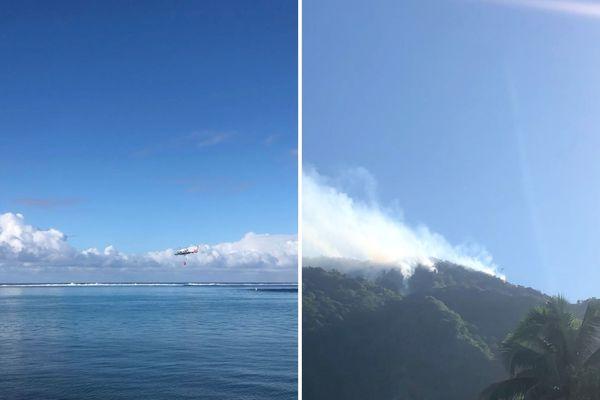 Incendie à Papara vallée de la Temarua