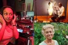 De gauche à droite et de bas en haut : Yaëlle Trules, Jacques Martial et Isabelle Hoareau-Joly prêtent leurs voix à l'histoire de grand-mère Kalle.