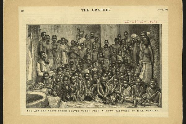 """The African slave-trade - slaves taken from a dhow captured by H.M.S. """"Undine"""""""