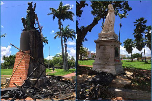 Statues de Pierre Belain d'Esnambuc et Joséphine incendiée