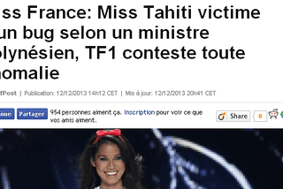 A l'image du Huffington post, la presse en ligne évoque le litige lié à l'élection de Miss France 2014