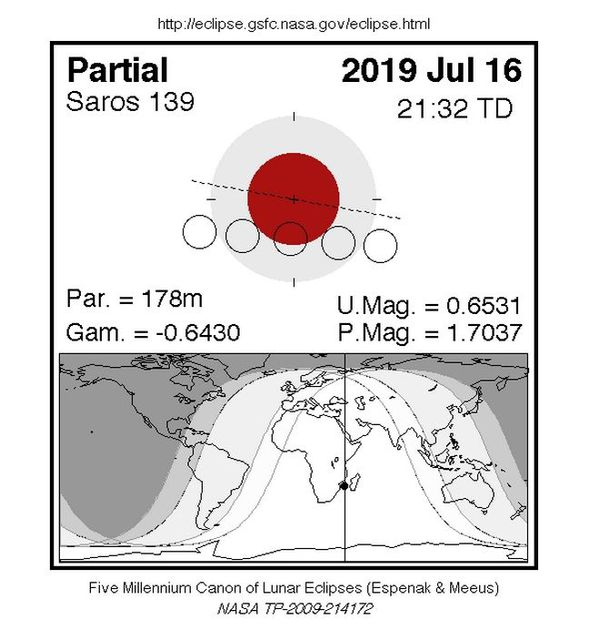 Zone visible de l'éclipse du 16 juillet 2019