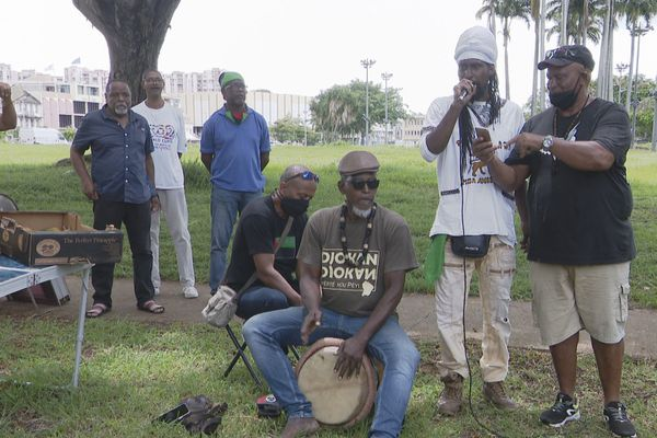 Rassemblement pacifique des activistes à la Savane à Fort-de-France