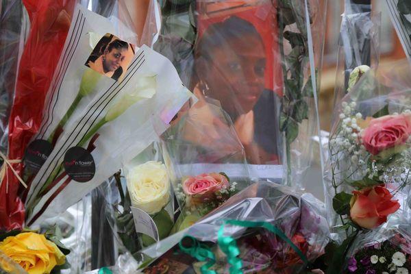 Fleurs déposées en hommage à Clarissa Jean-Philippe à Montrouge