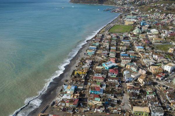 Roseau, capitale de la Dominique après le passage de Maria