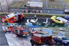 Images de l'accident survenu sur l'autoroute impliquant 2 véhicules sous le pont de Sainte-Luce, près du bourg (24 juillet 2021).