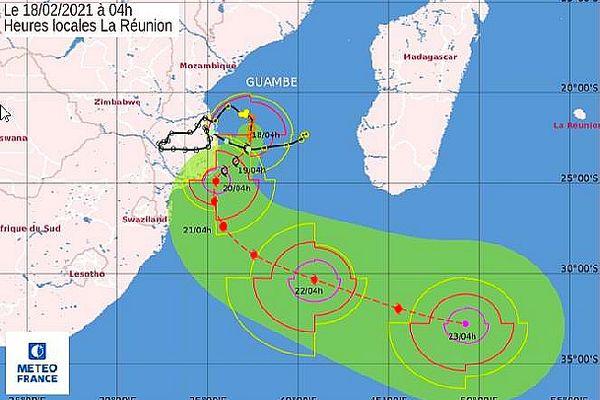 Guambe trajectoire prévue 18 février 2021
