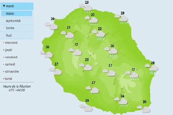 Carte météo de La Réunion 9 janvier 2018