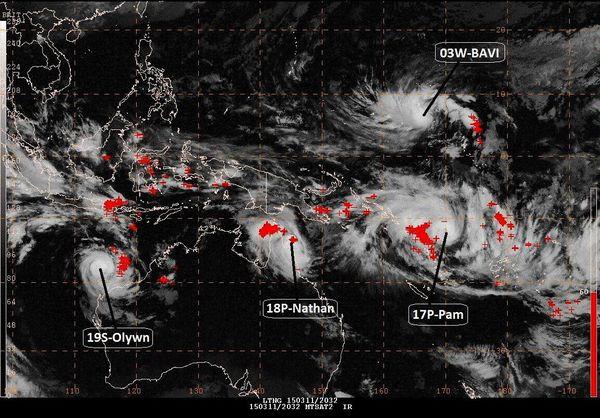3 cyclones dans la zone Pacifique