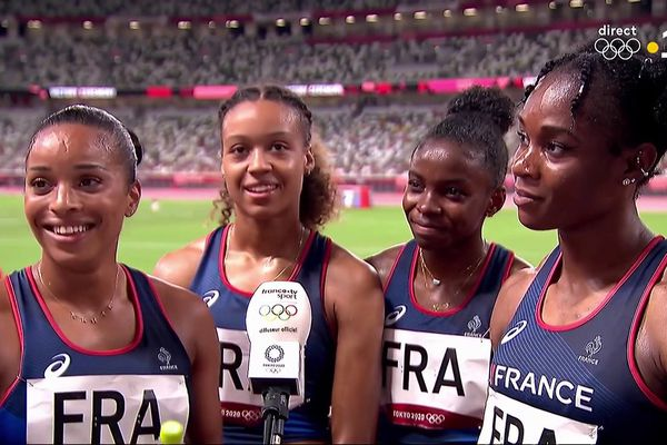 Les filles de la sélection du relais 4X100m le 6 août à Tokyo