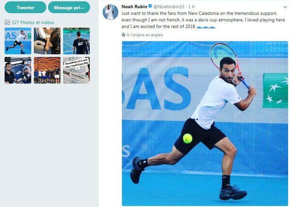 Noah Rubin salue le public calédonien sur twitter