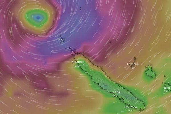 Simulation des vents générés par Oma mardi 19 février à 3 heures du matin.