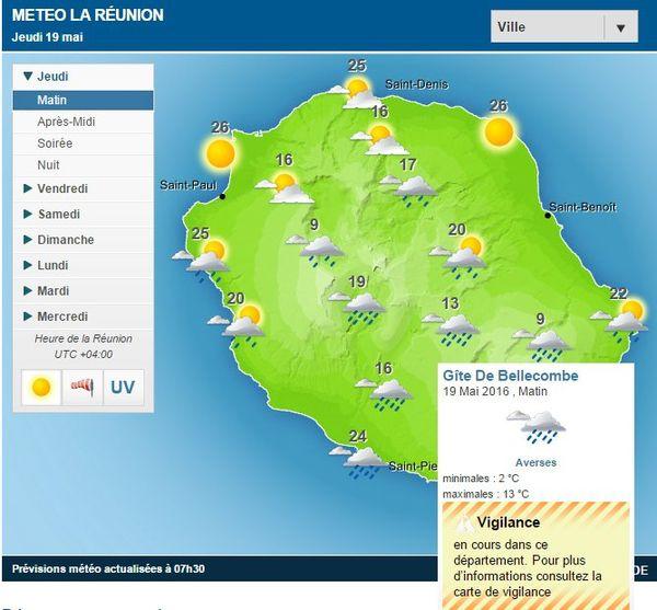 Carte météo 19 Mai 2016