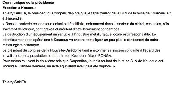SLN Kouaoua communiqué président du Congrès