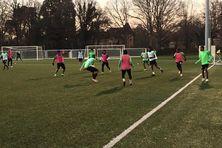 Un des entraînements du Club Franciscain à Clairefontaine avant le match face à Angers