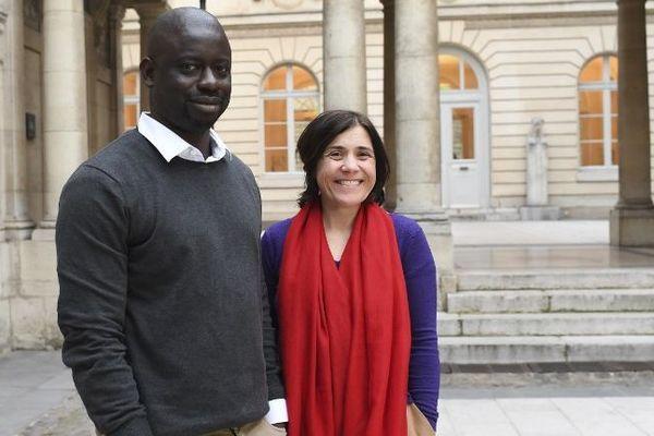 Benedicte Savoy et Felwine Sarr le 21 mars 2018 à Paris