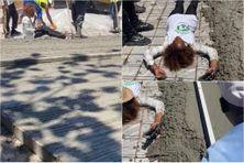 Perturbation du chantier de la route de Canton-Suisse au Morne-Vert par des militants de l'ASSAUPAMAR (7 mai 2021).